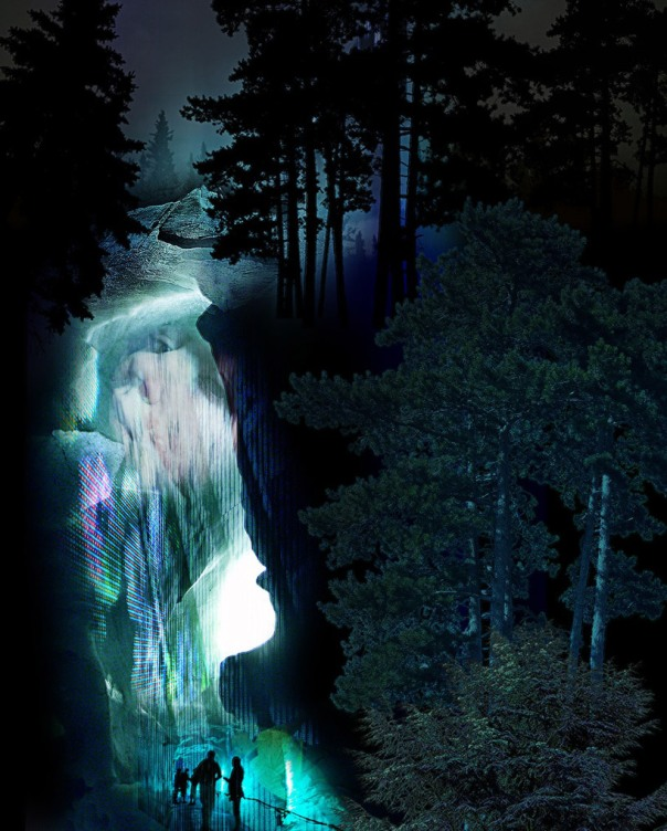 Yongsan National Park in Seoul - illuminated waterfall