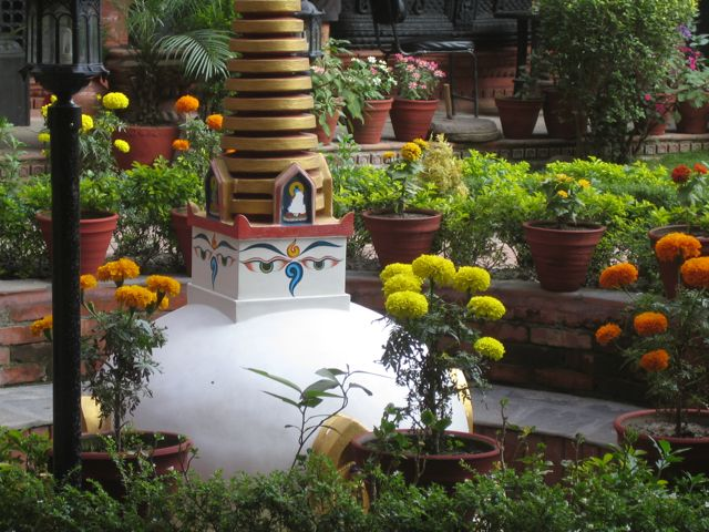 Buddhist Stupa and Marigolds