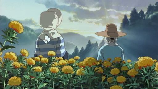 Ghibli Only Yesterday Sunrise with safflowers