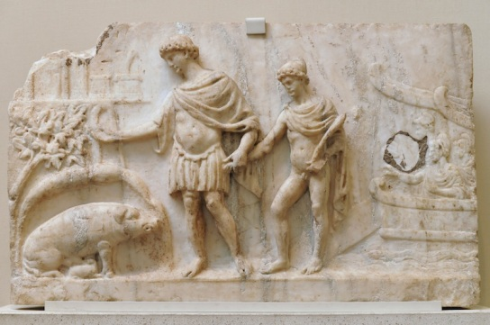 Aeneas and Ascanius Marble Carving