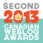 2013 Canadian Weblog Award Second Place
