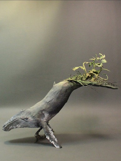 humpback whale with norfolk pines by Ellen Jewett