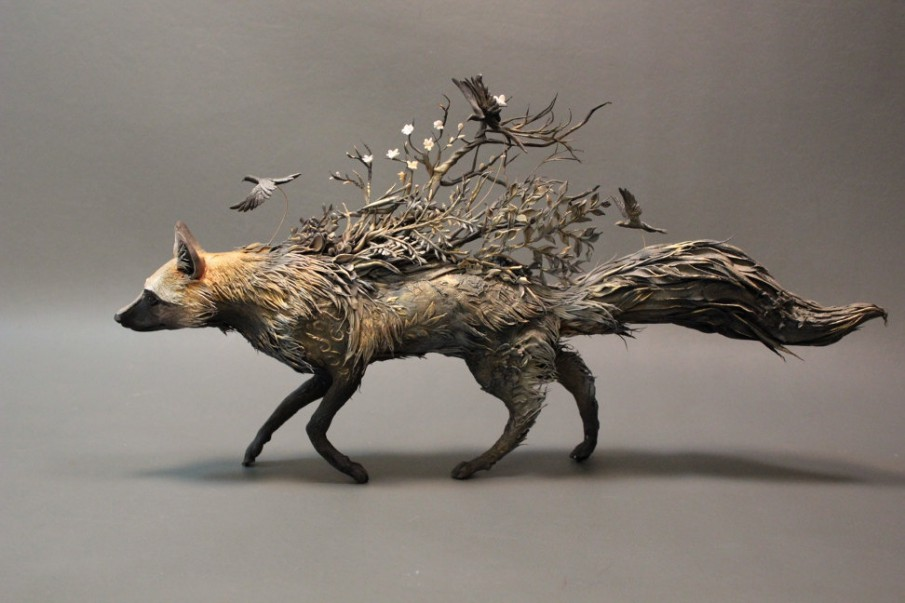 Silver Fox with Crows by Ellen Jewett