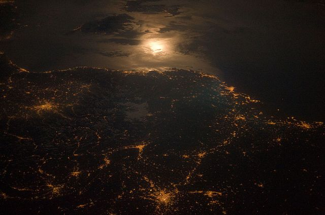 Night Lights by France and Italy border