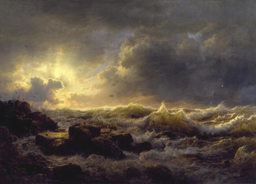 andreas-achenbach Storm Driven Sea