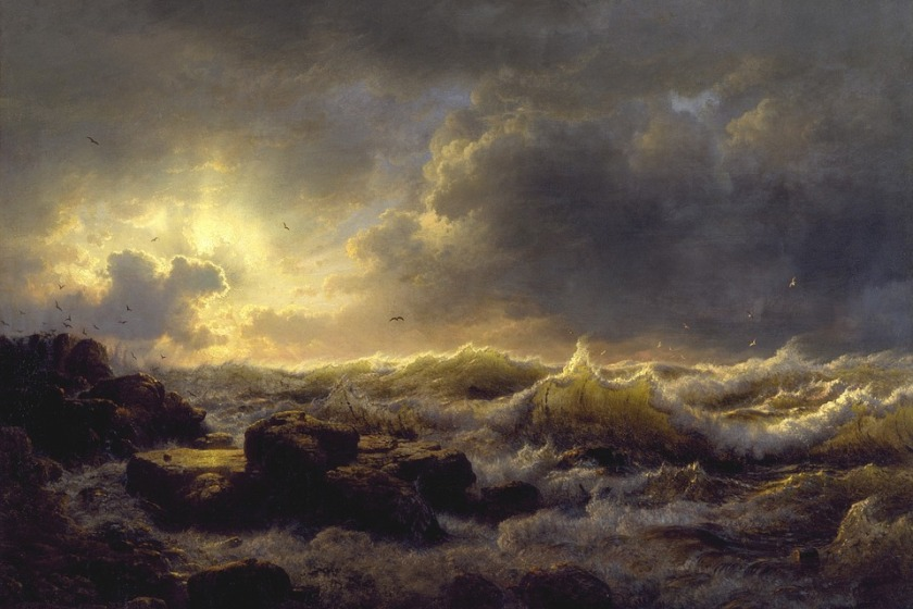 andreas-achenbach Storm Driven Sea